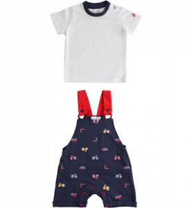 Salopeta cu tricou pentru bebe baiat nou nascut IDO