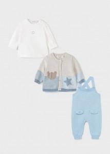Set salopetă ECOFRIENDS cu steluță și ursuleț, 3 piese, pentru bebe băiat, Mayoral