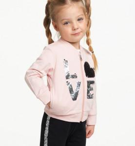 Trening pentru fetițe din bumbac cu hanorac roz IDO