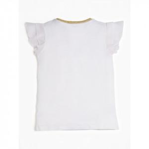Tricou Guess alb cu guler auriu