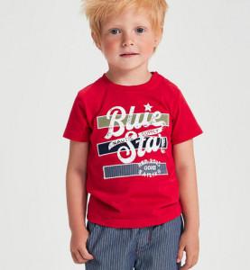 Tricou pentru băieți roșu cu Blue Jeans în dungi, iDO