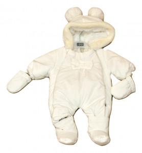 combinezon petru bebe fetita alb
