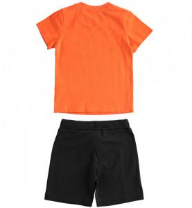 Costum de baiat din bumbac cu tricou si pantalon scurt din bumbac