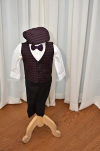 Costum de botez cu sacou in carouri , 6 piese