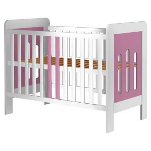 Patut copii din lemn Hubners Sophie 120x60 cm alb-roz