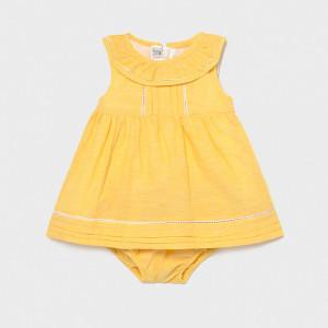 Rochie chimono galben pentru bebelusi cu volanas