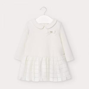 Rochie pentru fetita ivoire cu maneca lunga Mayoral