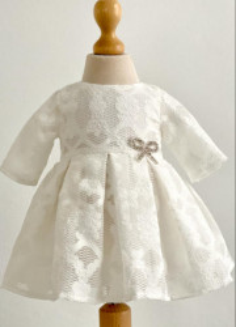 Rochita de botez pentru fete ivoire din dantela