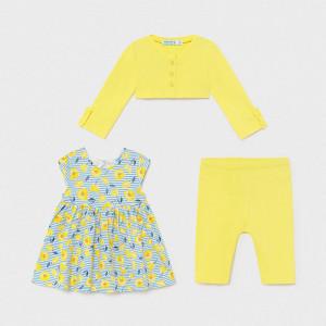 Set 3 piese cu rochita galbena pentru fetita
