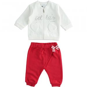 Trening pentru fetiță, din bumbac vătuit alb cu roșu, iDO