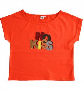 Tricou rosu din bumbac NO KISS IDO