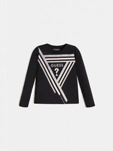 Bluză pentru fete, neagră din bumbac, Guess