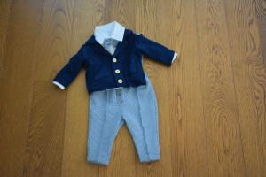 Costum cu pantalon din tercot sare si piper si albastru regal 5 piese