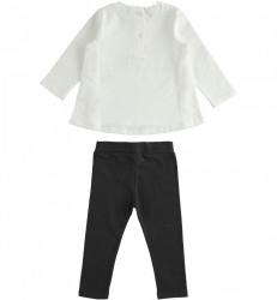 Costum fata alb cu negru din bumbac IDO
