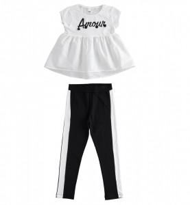 Costum fete alb cu negru, iDO
