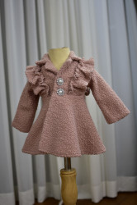 Palton din stofita buclata roz prafuit
