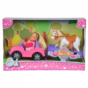 Papusa Simba Evi Love 12 cm Evi Horse Trailer cu masina, trailer si calut