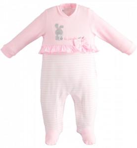 Salopeta fetita bebelus , Ido , bumbac , roz cu alb