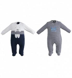 Salopeta pijama pentru baiat nou nascut din bumbac IDO