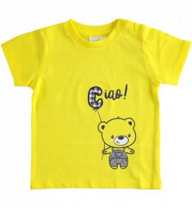 Tricou de baiat din bumbac de bebelusi cu galben IDO
