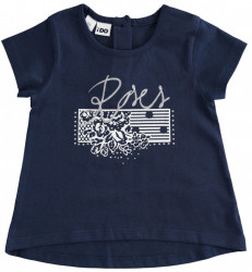 Tricou de fete bleumarin cu floricica Ido