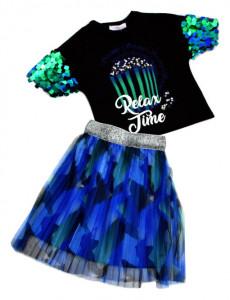 Tricou si fusta din tiul negru cu albastru