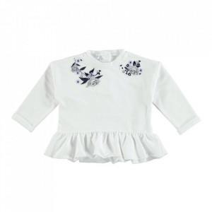 Bluza ivoire pentru fetite de 12 si 18 luni din bumbac vatuit cu deschidere pe spate IDO