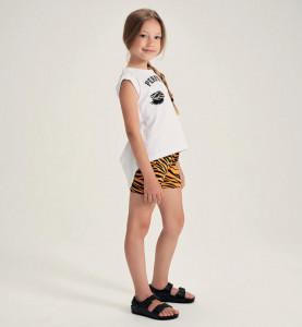Costum cu pantalon scurt din bumbac pentru fetita IDO