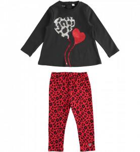 Costum fata IDO cu rosu si negru din bumbac
