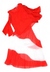 Fusta lunga plisata alb cu rosu
