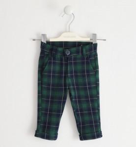 Pantalon lung baieti in carouri verde