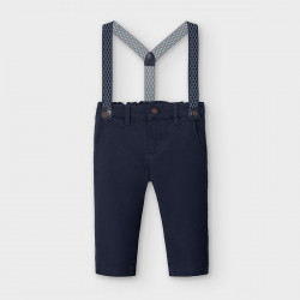Pantaloni lungi chino pique bretele bebe baiat