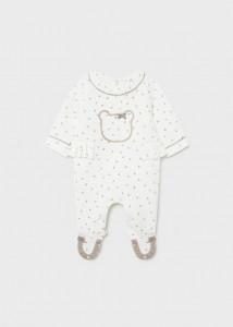 Pijama cu buline și ursuleț pentru nou-născut fată, Mayoral