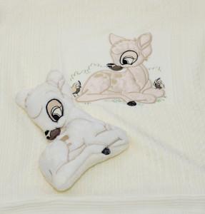 Pled tricotat imblanit cu plus bambi