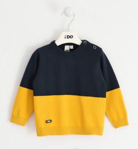 Pulover tricotat în contrast, din bumbac, pentru băiat, IDO