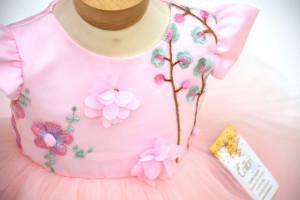 Rochie botez din danteluță roz, Bianca