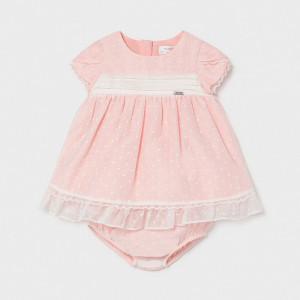 Rochita de bebe fetita roz cu buline albe Mayoral
