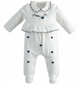 Salopetă albă pentru bebe fetiță, iDO