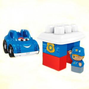 Set constructie Fisher Price Mega Blocks Masina de politie cu 6 piese