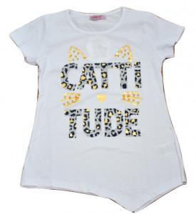 Tricou asimertic cu pisica