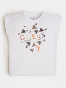 Tricou cu maneca scurta ivoire pentru fetite Guess