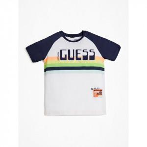 Tricou Guess alb cu dungi multicolore