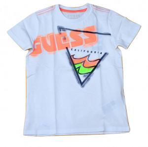 Tricou Guess alb cu scris portocaliu