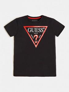 Tricou Guess negru cu logo rosu