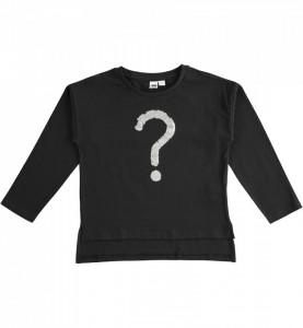 Bluză neagră cu paiete, cu manecă lungă din bumbac, IDO