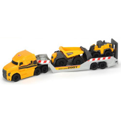 Camion Dickie Toys Mack Volvo Micro Builder cu remorca, buldozer si camion basculant