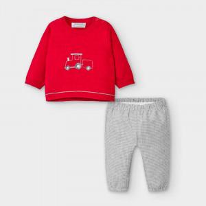 Costum bebe băiat cu pulovaraș roșu, Mayoral