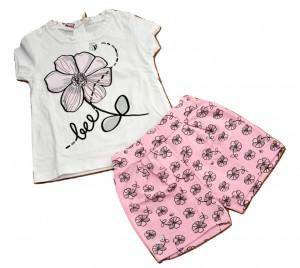 Costum bumbac cu pantaloni roz si flori