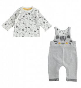Costum cu salopetă din bumbac pentru bebe băiat, IDO