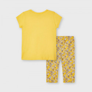 Costum cu tricou si colant din bumbac Mayoral galben de fetita